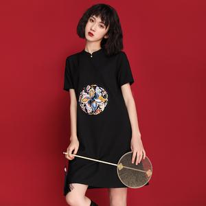 黑色旗袍年轻款少女改良版连衣裙
