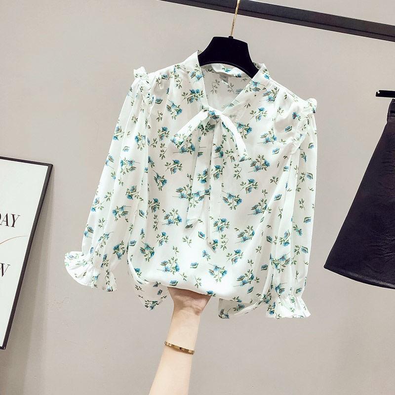 中國代購|中國批發-ibuy99|女裝|2021年新款夏装设计感小众女士衬衫女装雪纺七分袖上衣碎花衬衣