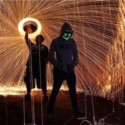 万圣节LED发光面具抖音技术流同款道具圣诞节派对晚会舞会面具
