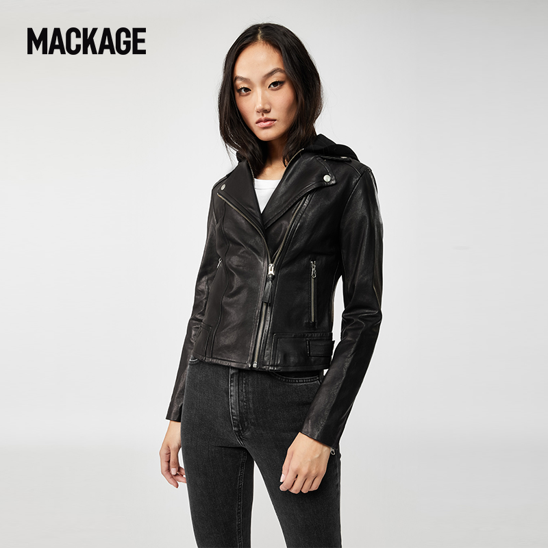 MACKAGE女士 YOANA不对称拉链连帽防风机车夹克奶油皮衣外套专柜
