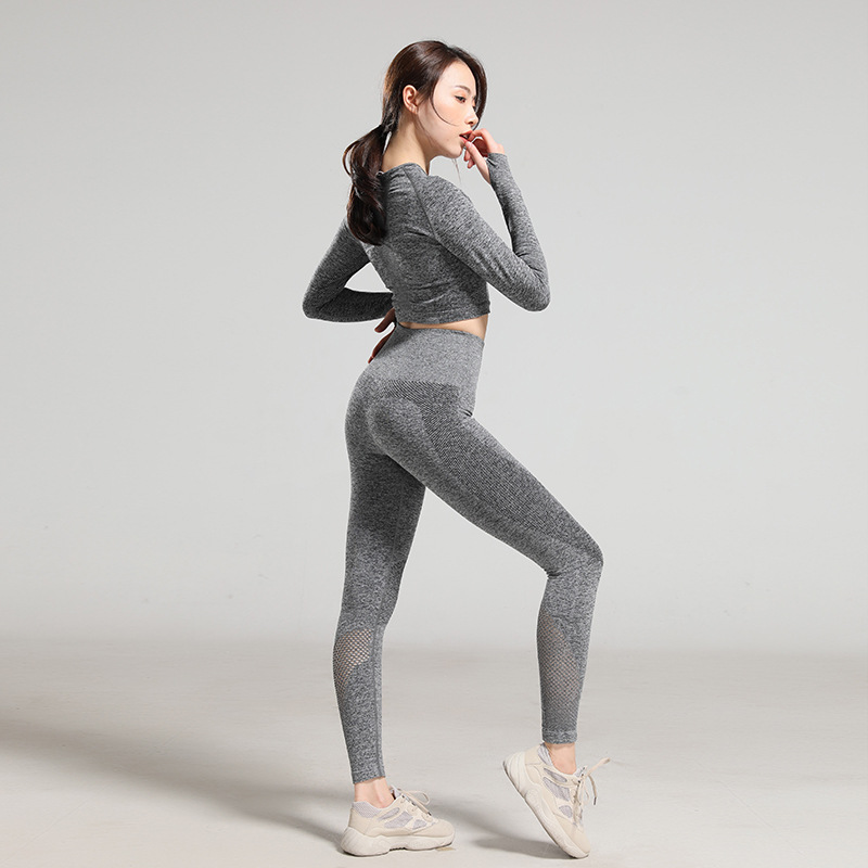 Ximaili new spring Yoga womens suit tight hollow long sleeve high waist peach hip pants sports fitness suit