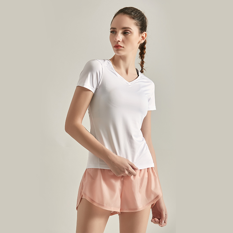 Ximaili VC new quick drying breathable fitness T-shirt white running short sleeve womens high elastic Yoga Top