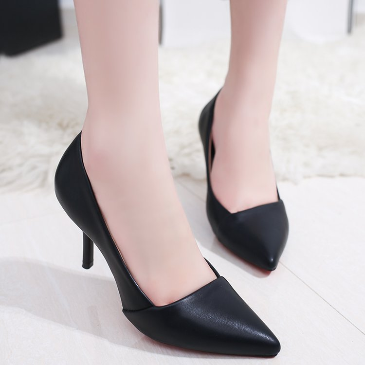 Size 34 single shoe female pointed small 5cm medium heel shallow soft leather sexy nude pink high heel womens banquet high heel 7
