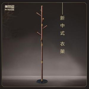 新中式衣架 美其屋铜木衣帽架大理石底座实木落地创意网红挂衣架
