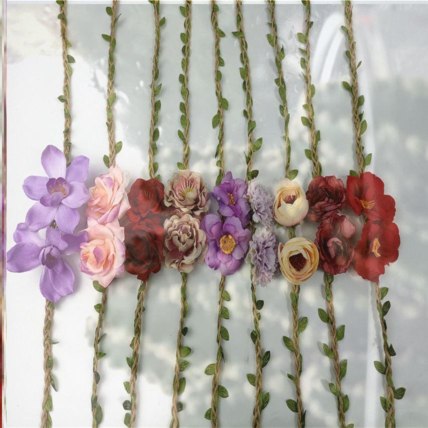 2021 silk I flower summer ornaments DIY small fresh retro accessories Beach Hat wreath accessories knitting