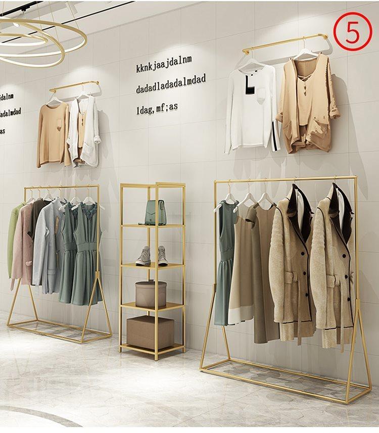 有赠品高档设计金色服装店展示架货架柜