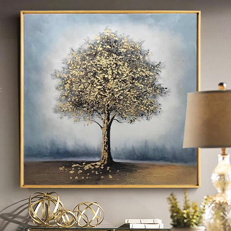 客廳方形抽象畫發財樹定制畫鶯花渡油畫現代輕奢掛畫純手繪裝飾畫