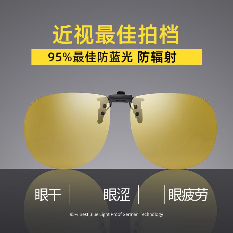 防蓝光镜片防辐射抗电脑眼镜疲劳夹片近视眼镜专用镜片夹护目镜女