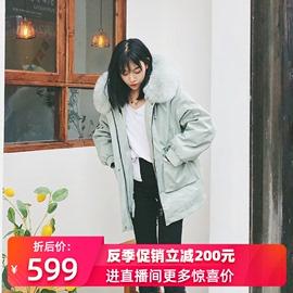 2019冬反季派克服女短款小个子獭兔毛内胆可拆卸年轻海宁皮草外套
