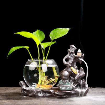 创意水养植物绿萝水培花瓶玻璃透明花盆器皿插花容器桌面客厅摆件
