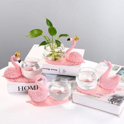 绿萝水培器皿花瓶透明玻璃花盆水养花器创意火烈鸟摆件客厅插花