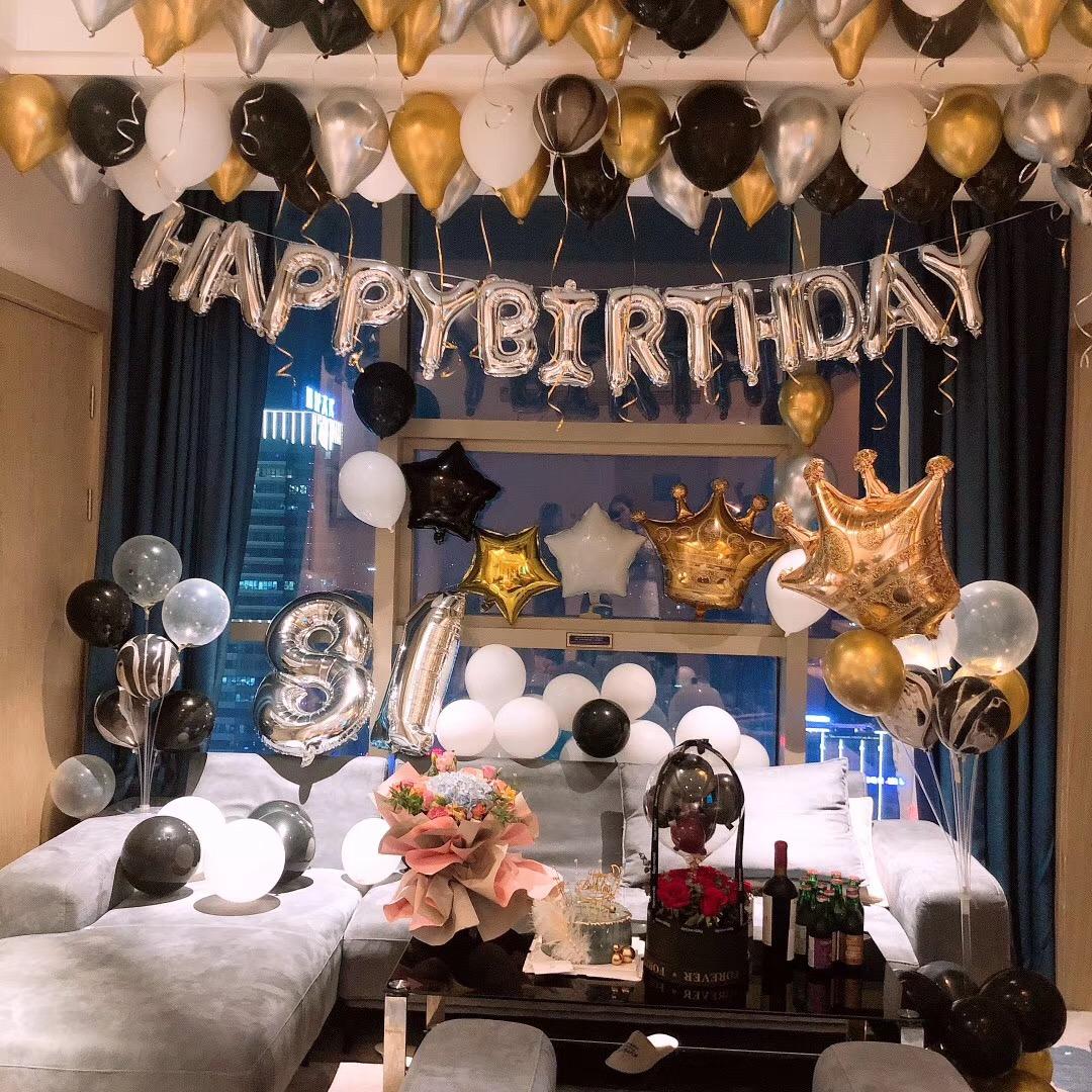 生日快乐派对趴体酒店房间浪漫表白创意装饰品场景布置背景墙气球