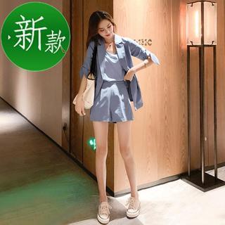 时尚休闲套装2020夏季新款韩版女装c纯色短袖小西装吊带短裤三件
