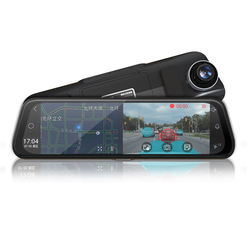 Adas intelligent rear-view mirror front and rear dual recording HD voice control