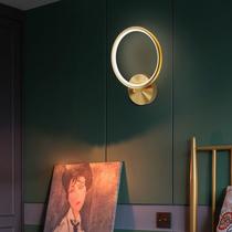 复古墨绿叶纹祖母绿黄铜玻璃卧室书房客厅床头北欧镜前壁灯FLYLA