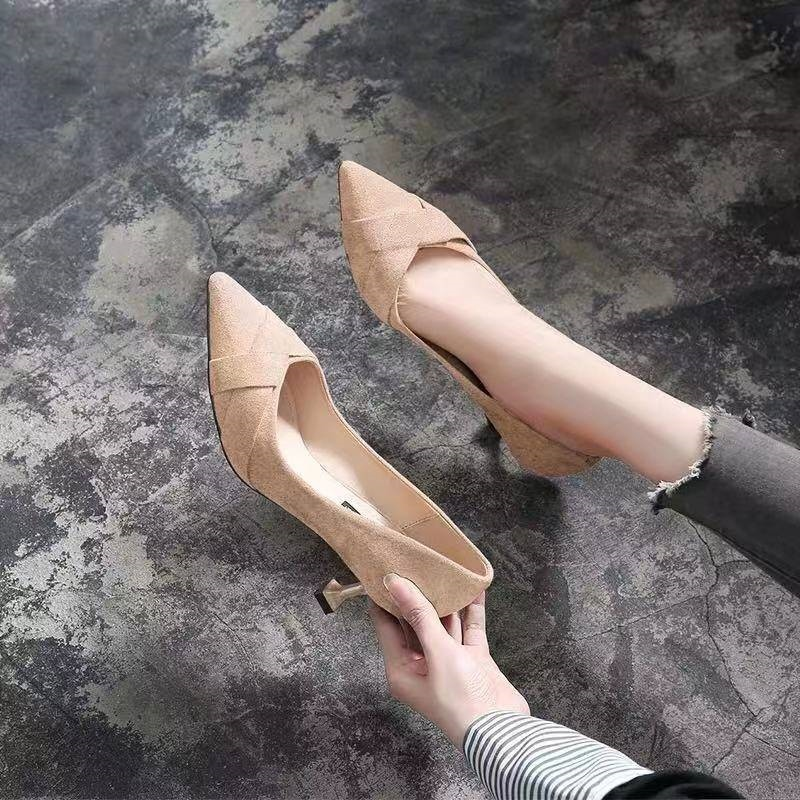 Wanghong girls spring and autumn 2020 new high-heeled shoes pointed thin heel suede fashion middle heel etiquette professional work shoes