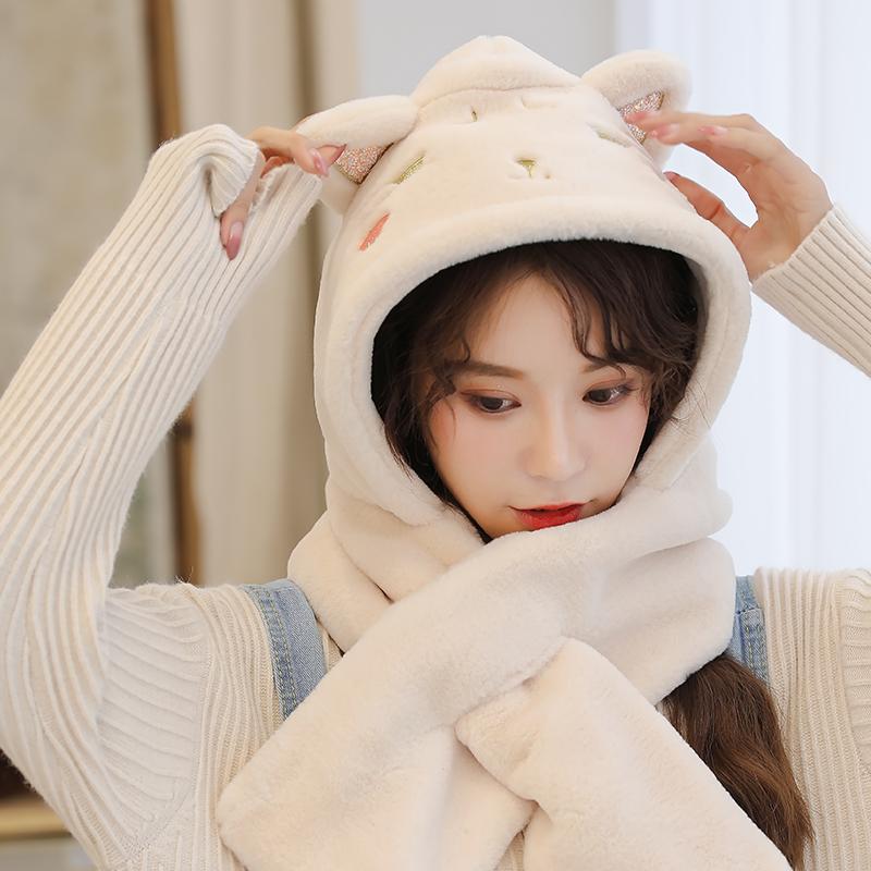 可爱秋冬韩版潮冬天一体围脖月子帽