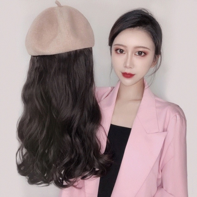 Hat with hair autumn winter fashion wig womens long straight hair one long curly hair tweed Beret detachable