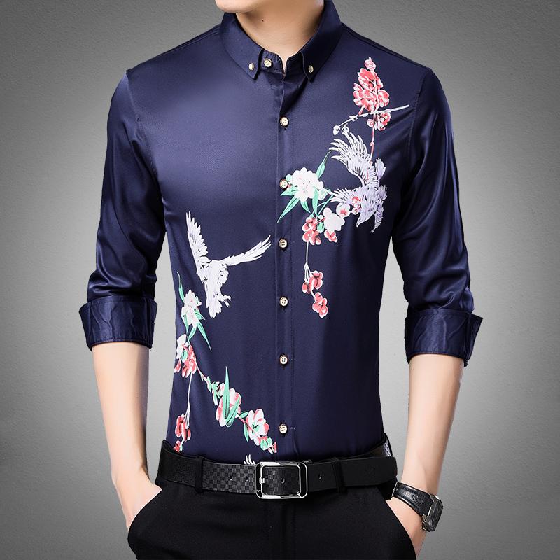 衬衫男长袖秋季中年衬衣男士秋装上衣