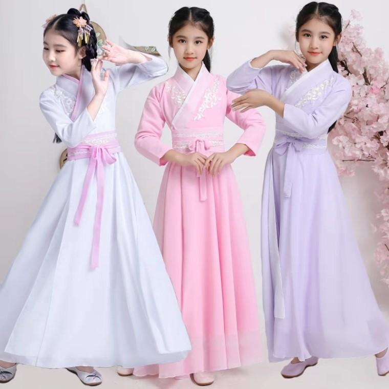 唐装礼服中国风古代小女生小学生少儿儿童女童古装超仙女装