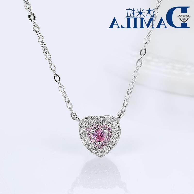 S925 silver simple heart-shaped Necklace inlaid with diamond, lovely classic style, foreign trade source, mixed distribution
