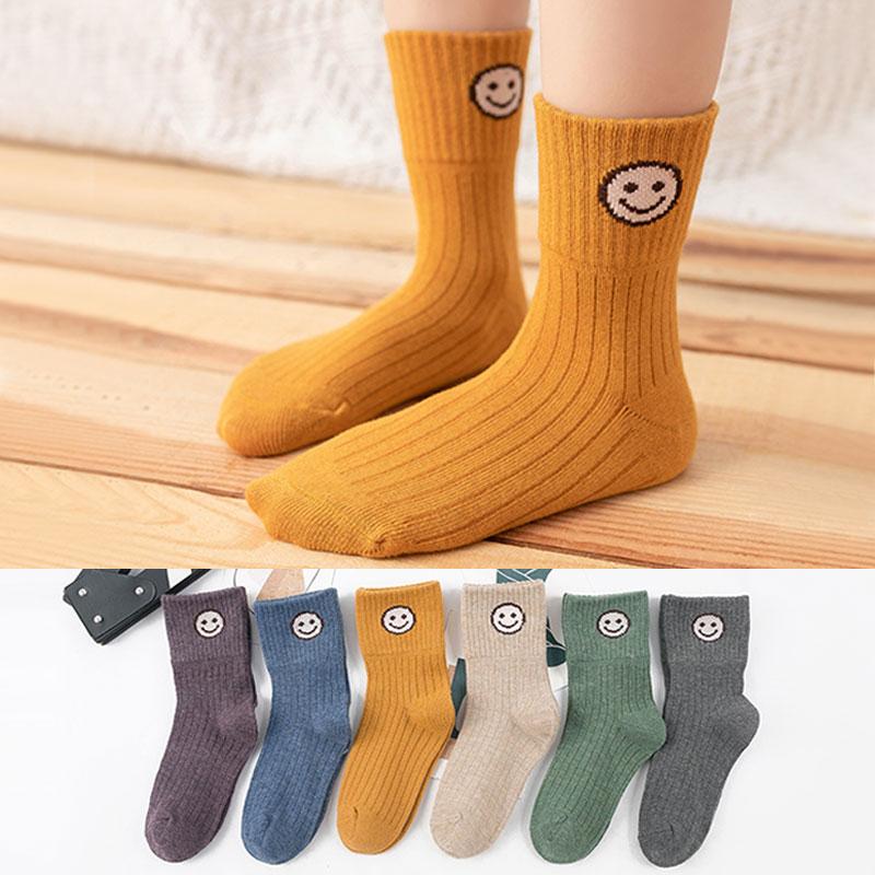 儿童春秋冬季竖条笑脸袜子女童加厚保暖中筒袜子宝宝厚款袜子
