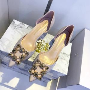 鞋子女2020新款中空法式小高跟鞋性感水钻伴娘鞋细跟单鞋女夏百搭