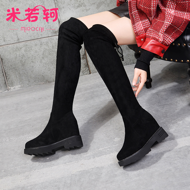 Knee high boots womens high tube with thick soles and inner height new slope heel boots in autumn and winter of 2019 elastic fashion thin leg