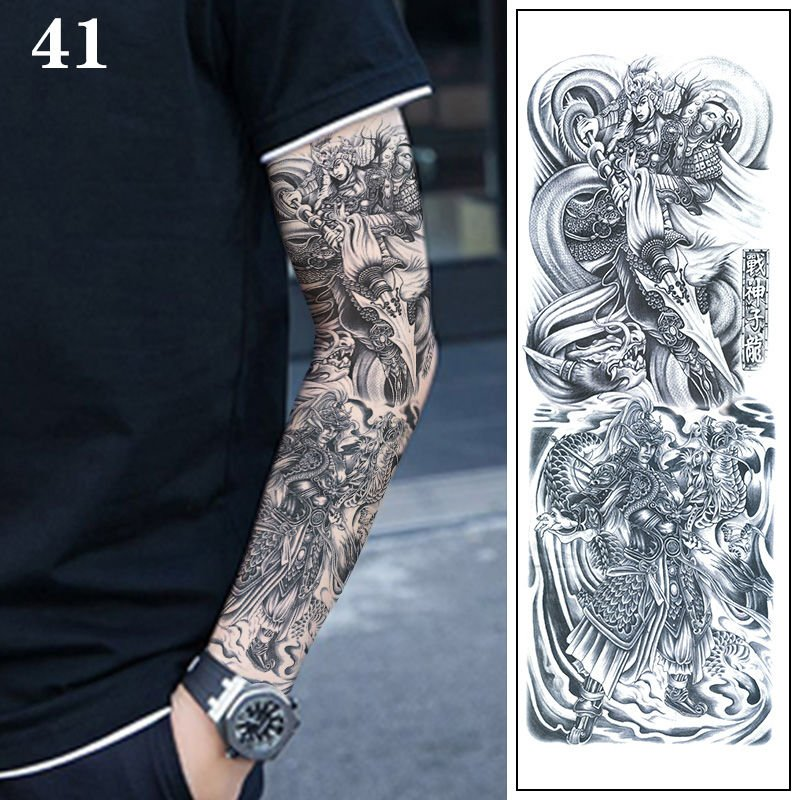 。 [one full arm + 4 half arms] black and white impermanence Zhong Kuis Kirin flower arm tattoo sticker