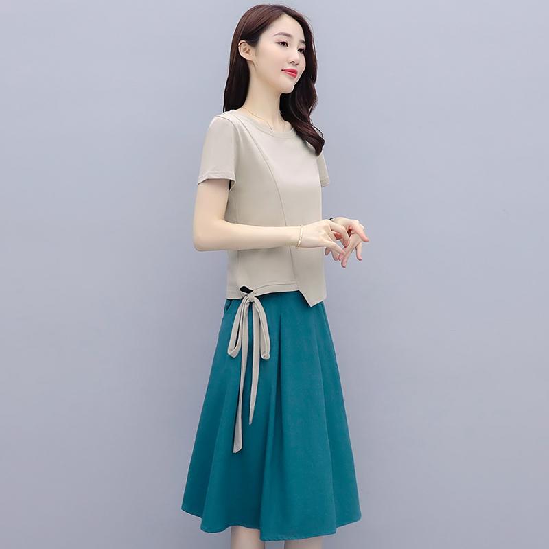 大码女装2021夏装新款小个子减龄显瘦雪纺衫两件套装洋气半身裙