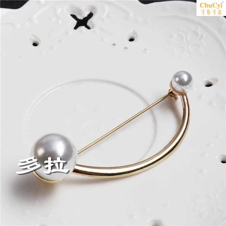 Europe and the United States simple style geometric Brooch temperament versatile modeling Brooch arc-shaped round U-shaped pin clothing accessories women