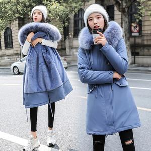 宣芭棉衣女2019新款仿兔毛女裝加厚寬松派克服連帽冬季保暖外套