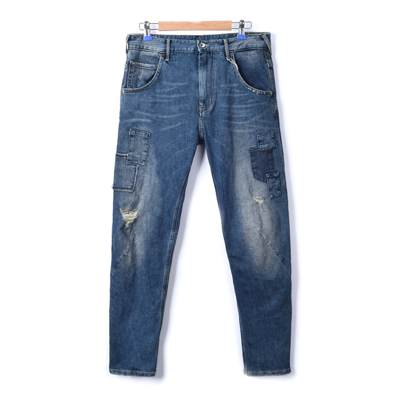 Can stretch Brunei washed light indigo used to sew holes 3D boyfriend jeans daddy pants