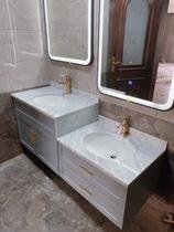 轻奢北欧实木双盆浴室柜儿童洗漱台双盆洗手柜盆台子母洗手池组合
