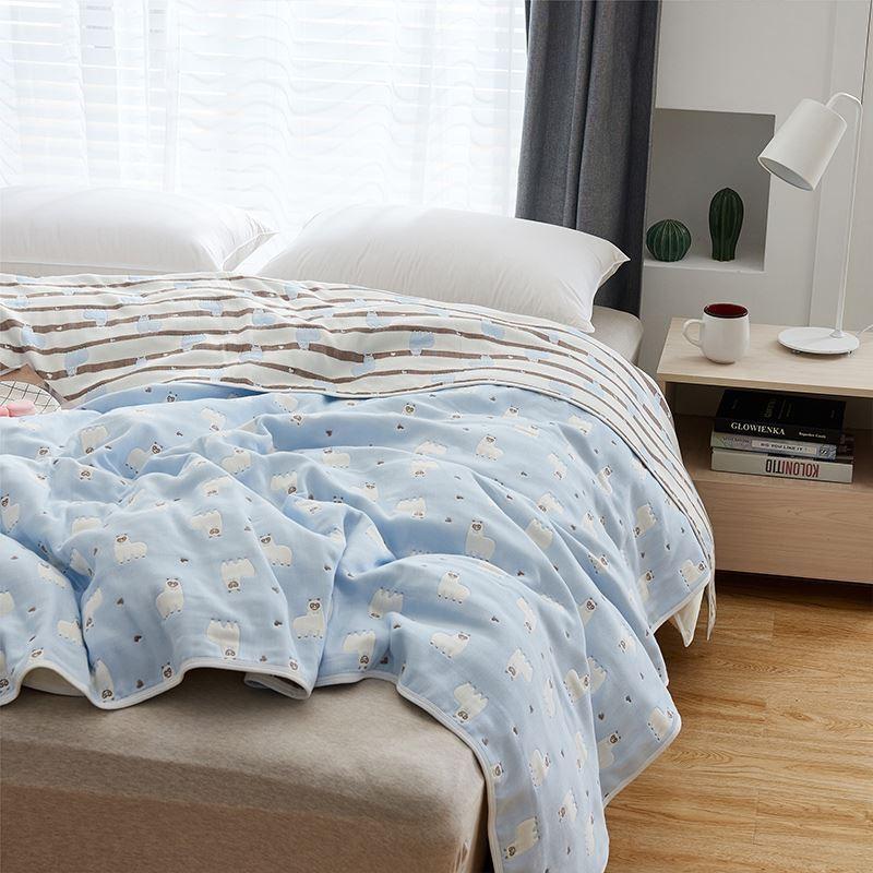 北欧纯棉纱布被子大人午休沙发盖毯夏季毛巾被纯棉单双人毯子床单