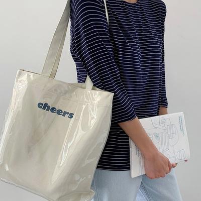 帆布单肩ins风韩版日系透明PVC防水大容量学生上课简约潮女士包袋