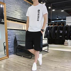 男士短袖短裤一套装2021夏新款t恤