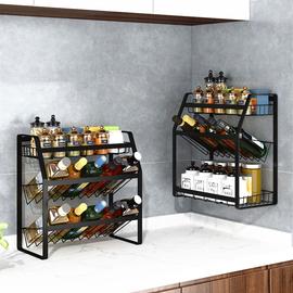 厨房置物架斜放式调味品调料架台面壁挂调味料油盐酱醋收纳架子