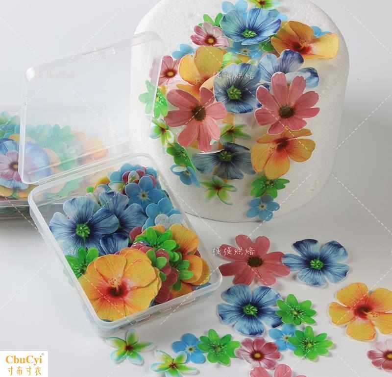 糯米纸小花可食用数码蛋糕烘焙西点冷盘装饰用纸威化立体蝴蝶花朵