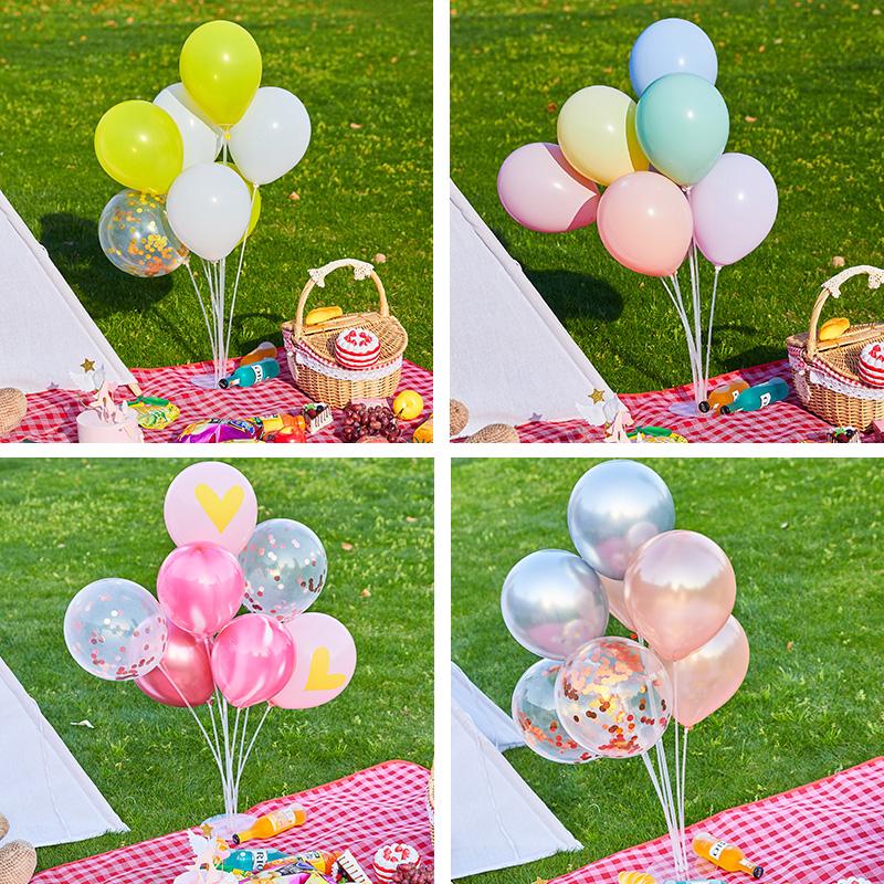 野餐气球网红春游用品结婚开业儿童生日51劳动节装饰布置桌飘支架