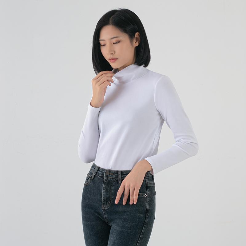 Cotton warm long sleeve T-shirt autumn and winter new womens fashion inside Pullover slim fit versatile half high collar bottomed shirt