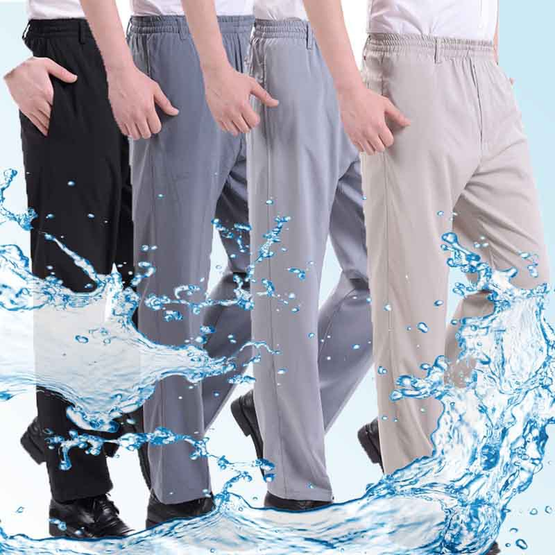 Mens summer thin ice silk casual pants high waist pants middle-aged and old mens elastic waist dad non iron straight pants
