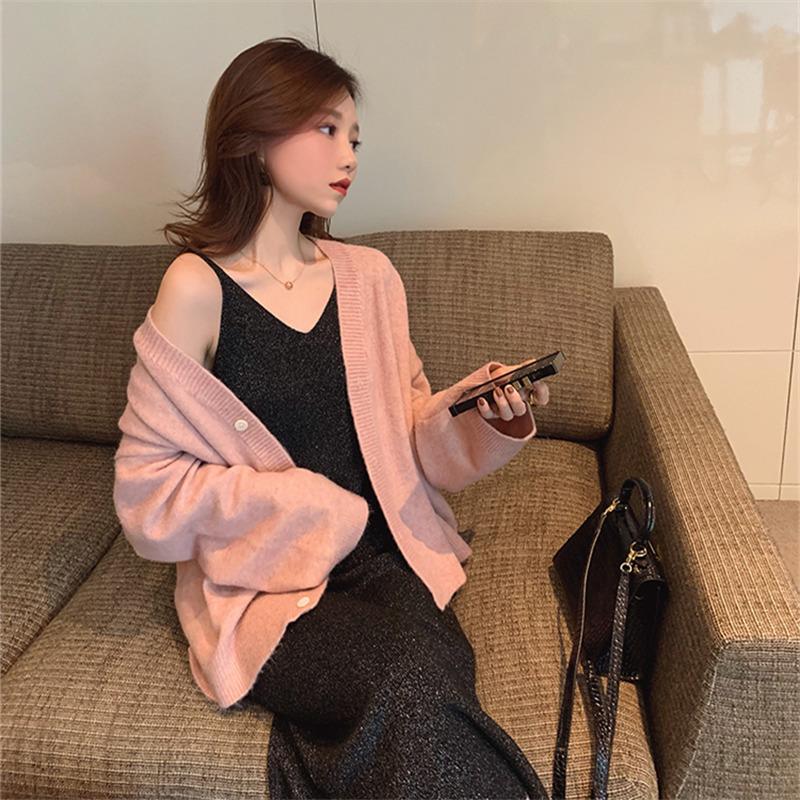 安娜◆人手bi入!亮闪闪吊带裙子2019新款 长款秋季针织连衣裙女