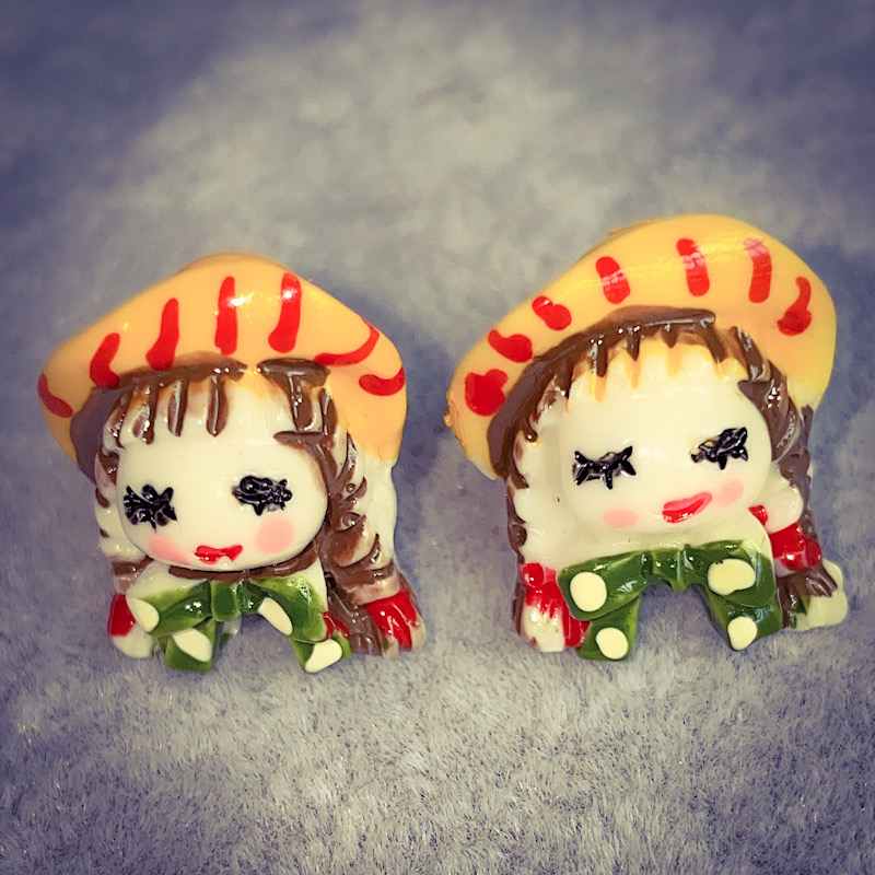 Europe and America simple personality fashion cute blush baby Earrings funny short hair girl Earrings