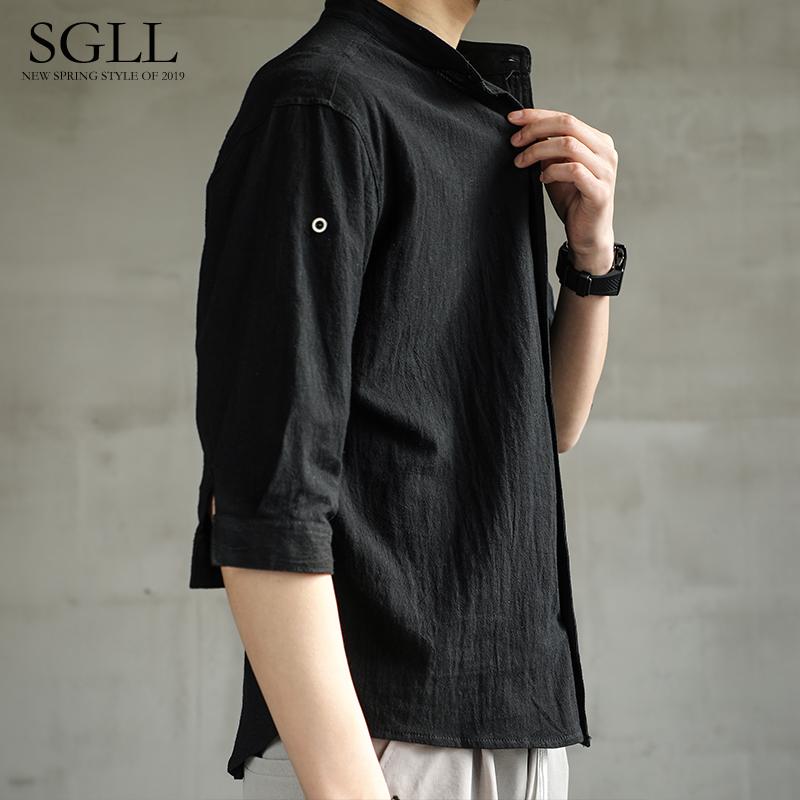 亚麻衬衫男短袖衬衣宽松男装中国风夏季棉麻男士休闲外套长袖上衣