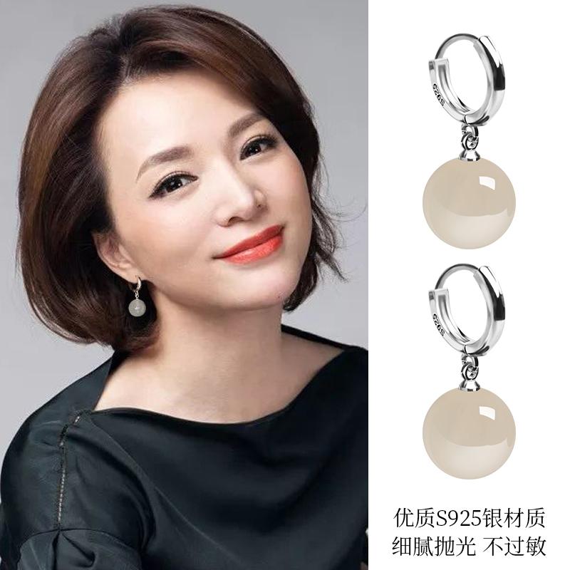 2020新款耳环潮显瘦999足银珍珠耳饰扣高级感玛瑙正品纯银女耳钉图片