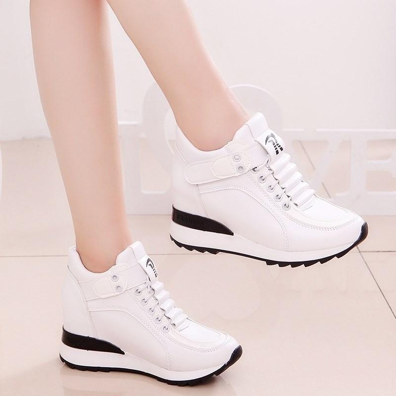。韩版春秋新款透气内女鞋坡跟厚底运动鞋2019魔术贴休闲小白