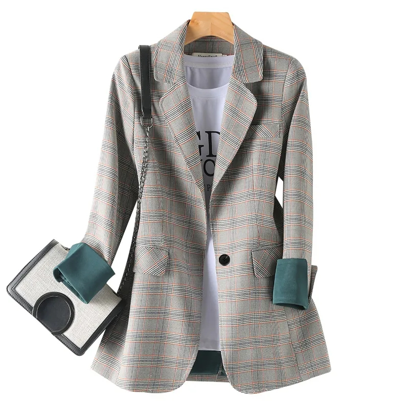 2021 spring and summer new net red plaid casual suit women British style suit French coat Korean top fashion