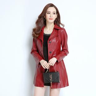秋冬新款 领红色皮大衣 水洗皮PU皮衣外套女中长款 中青年皮衣女西装