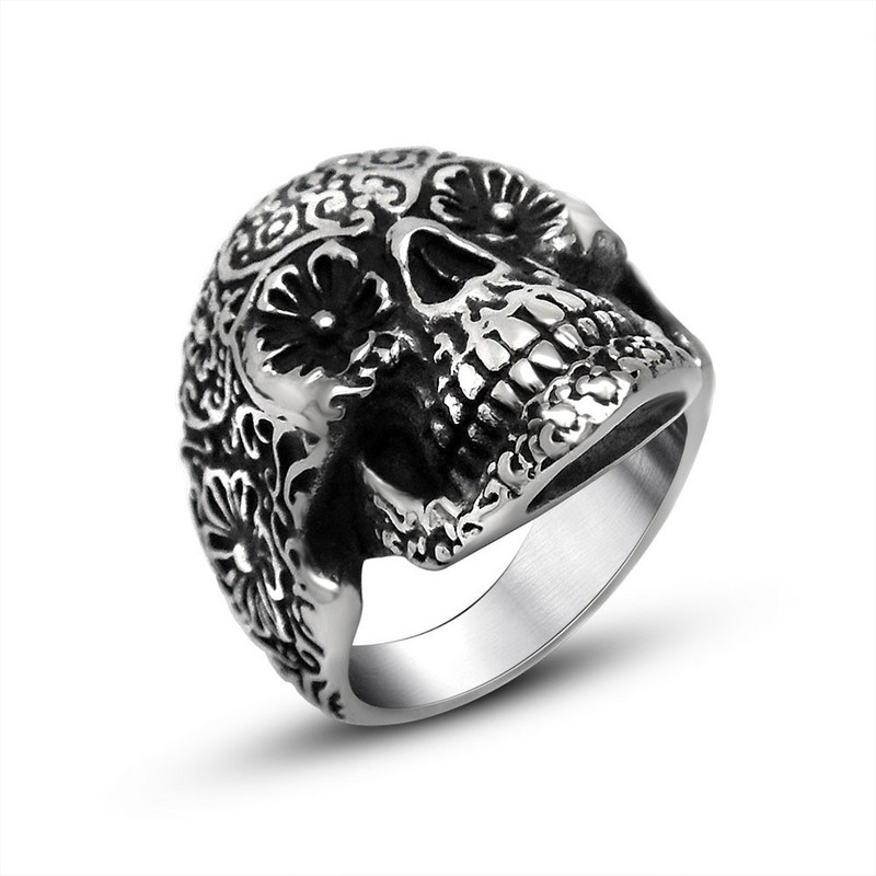 Vampire skull head and tail ring rock punk personality fashion mens Retro index finger ring titanium steel jewelry